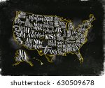 vintage usa map with states... | Shutterstock . vector #630509678