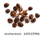 coffee beans and leaf on the... | Shutterstock . vector #630525986