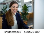 portrait of smiling female... | Shutterstock . vector #630529100