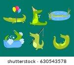 cartoon green crocodile funny... | Shutterstock .eps vector #630543578