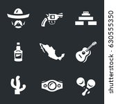 vector set of mexico icons.