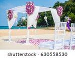 romantic wedding ceremony on... | Shutterstock . vector #630558530