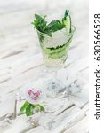 bright green alcohol cocktail... | Shutterstock . vector #630566528