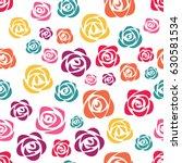 colorful roses on white... | Shutterstock .eps vector #630581534