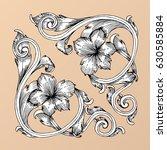 hand draw vintage baroque frame ...   Shutterstock .eps vector #630585884
