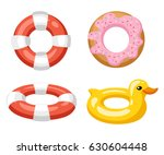 colorful swim rings icon set...   Shutterstock .eps vector #630604448