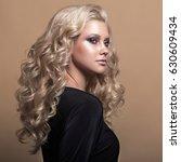 beauty blonde woman portrait.... | Shutterstock . vector #630609434
