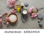 branch pink cherry flower  gray ... | Shutterstock . vector #630614414