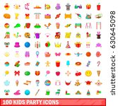 100 kids party icons set in... | Shutterstock .eps vector #630645098