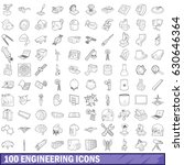 100 engineering icons set in... | Shutterstock .eps vector #630646364