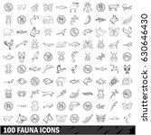 100 fauna icons set in outline... | Shutterstock .eps vector #630646430