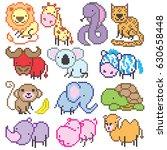 big pixel animals set  vector... | Shutterstock .eps vector #630658448