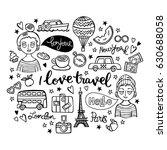 i love travel. boy and girl.... | Shutterstock .eps vector #630688058