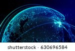 blue planet with lights  | Shutterstock . vector #630696584