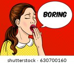 yawning bored girl pop art... | Shutterstock . vector #630700160