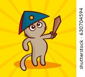 cute cartoon cat in a cocked... | Shutterstock .eps vector #630704594