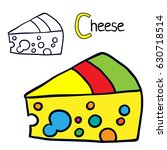 cheese. coloring book page.... | Shutterstock .eps vector #630718514