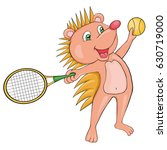 hedgehog plays tennis. cartoon... | Shutterstock .eps vector #630719000