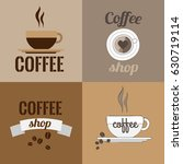 four logos of coffee shops with ... | Shutterstock .eps vector #630719114