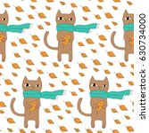 cartoon cat pattern with hand... | Shutterstock . vector #630734000
