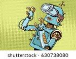 scared retro robot in vr... | Shutterstock .eps vector #630738080