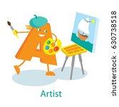 artist cartoon letter | Shutterstock .eps vector #630738518