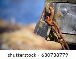 Closeup Of Locked With Rusty...