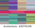 set of knitted patterns | Shutterstock .eps vector #630743198