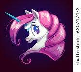 cartoon pretty unicorn face on... | Shutterstock .eps vector #630747473