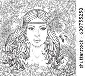hand drawn girl  among the...   Shutterstock .eps vector #630755258