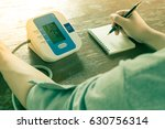 arm is being measuring blood... | Shutterstock . vector #630756314