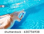 child swims with snorkel mask... | Shutterstock . vector #630756938