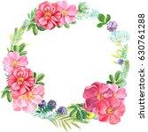 frame wreath greeting card ... | Shutterstock . vector #630761288