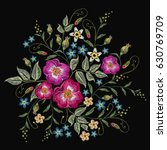 embroidery wild roses  dogrose... | Shutterstock .eps vector #630769709