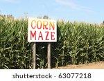 Corn Maze Sign On Autumn...