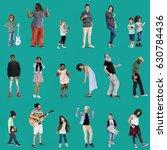 diverse of people enjoy music... | Shutterstock . vector #630784436