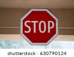 stop sign in an unconventional... | Shutterstock . vector #630790124