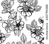 black and white flowers... | Shutterstock .eps vector #630790388