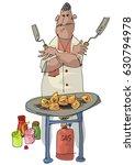 an indian street food vendor... | Shutterstock .eps vector #630794978