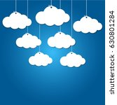 8 paper clouds hanging on blue... | Shutterstock .eps vector #630801284