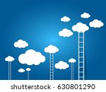 ladder to the clouds on blue... | Shutterstock .eps vector #630801290