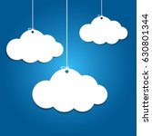 3 paper clouds hanging on blue... | Shutterstock .eps vector #630801344