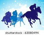 vector race horses and jockeys | Shutterstock .eps vector #63080494