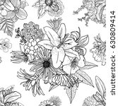 doodle floral drawing seamless... | Shutterstock . vector #630809414