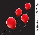 red balloons floating away.... | Shutterstock .eps vector #630829136