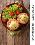 hearty breakfast  poached eggs...   Shutterstock . vector #630830159