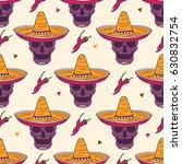 mexican skulls  sombrero and... | Shutterstock .eps vector #630832754