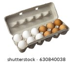 Raw Eggs In Carton Isolated On...