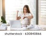 happy businesswoman at the desk ...   Shutterstock . vector #630840866