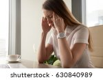 Small photo of Businesswoman tries to cope with nervous tension or anxiety. Woman suffering from panic attacks or head ache. Girl in depression because of troubles at work. Master emotions, take back control concept